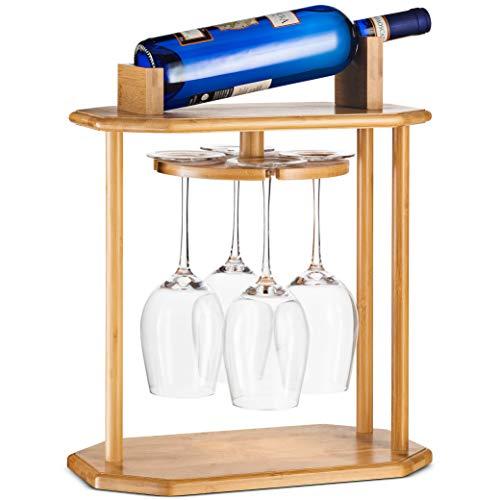 High-Grade Wooden Wine Rack & Wine Glass Holder - 100% Natural Bamboo Wine Holder - 360° Swivel Free Standing Wine Glass Rack, Easy Assembly - Holds 4 Wine Glasses & Wine Bottle, Great Wine Lover Gift (Rack Wine Gift)