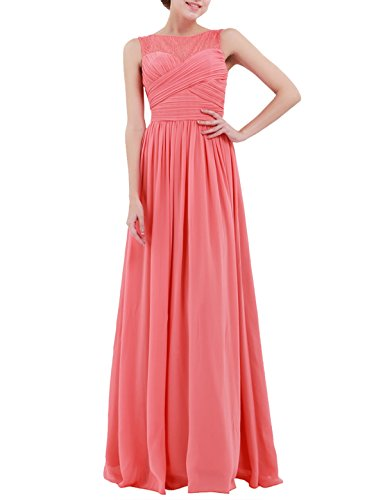 iiniim Women's Chiffon Lace Prom Party Evening Gown Wedding Bridesmaid Long Dress Coral US Size 8