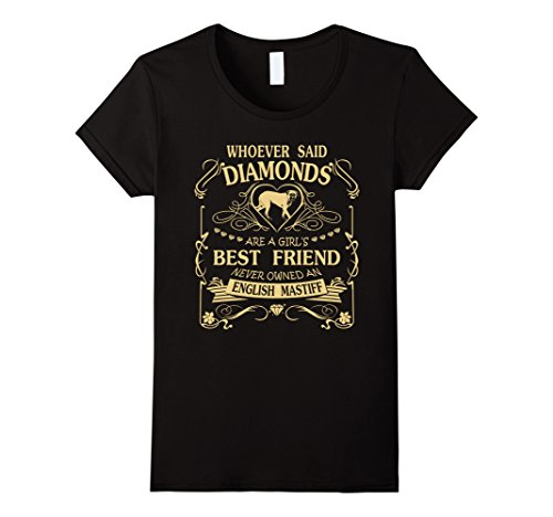 Womens I love my English Mastiff than diamond Cute Gift Shirt Medium Black
