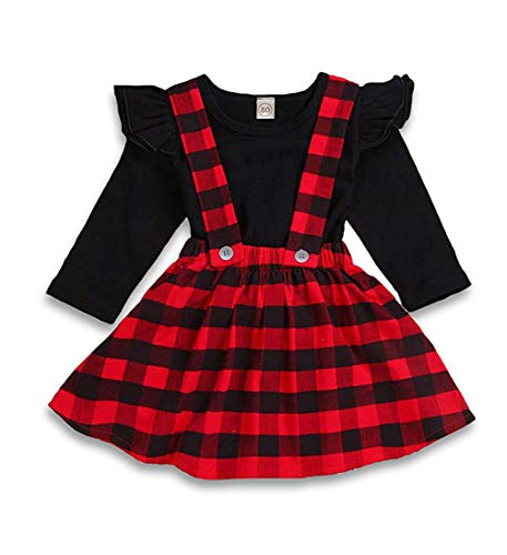 (ZOELNIC Baby Girls Suspender Skirt Set Ruffle Long Sleeve Tops + Christmas Tree Plaid Skirt Outfit(Red + Black, 3-4Y))