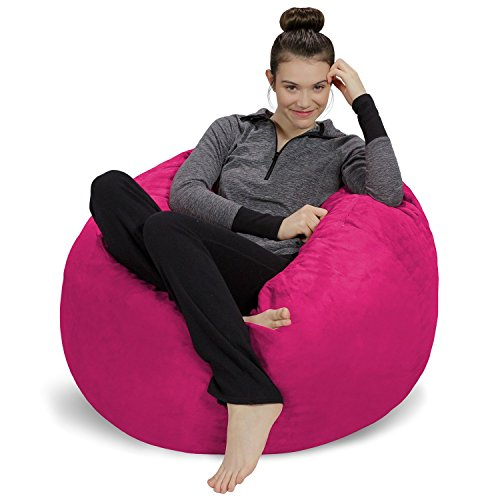 Teen Bean Bag Chair - Sofa Sack - Plush, Ultra Soft Bean Bag Chair - Memory Foam Bean Bag Chair with Microsuede Cover - Stuffed Foam Filled Furniture and Accessories for Dorm Room - Magenta 3'