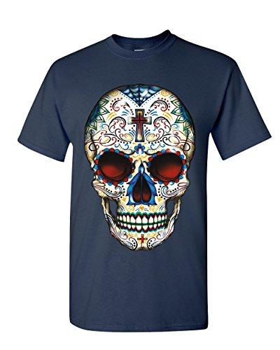 Sugar Skull Calavera T-Shirt Day of The Dead Dia de Los Muertos Mens Tee Shirt Navy Blue XL -