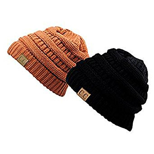 - Shadana's Collection Trendy Warm Chunky knitted Oversized Soft Cable Knit Slouchy Beanie (Set Black/Rust)