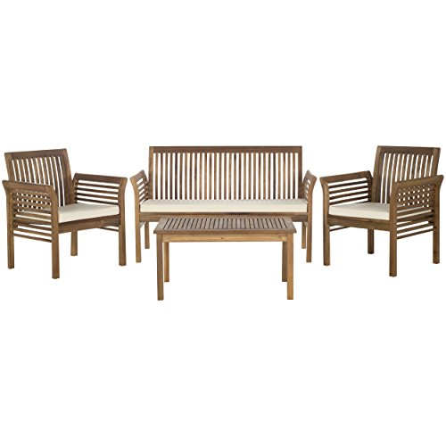 Safavieh Outdoor Living Collection Carson 4-Piece Outdoor Living Set, Teak Brown