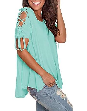 331a137b28d5 Jescakoo Women s Short Sleeve Cut Out Cold Shoulder Tops Deep V Neck T  Shirts