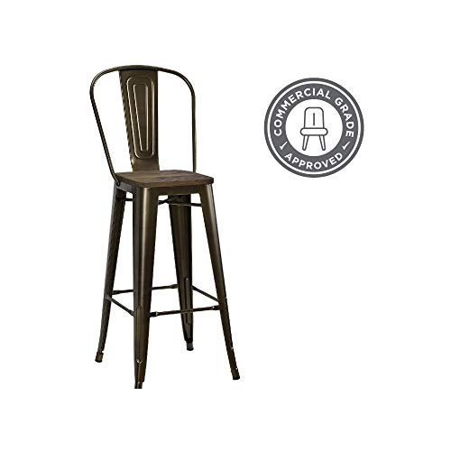 Enjoyable Dhp Luxor Metal Counter Stool With Wood Seat And Backrest Gmtry Best Dining Table And Chair Ideas Images Gmtryco