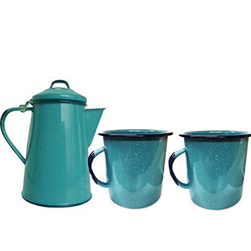 La Mexicana Enamel Coffee Pot and 2 Cup Set