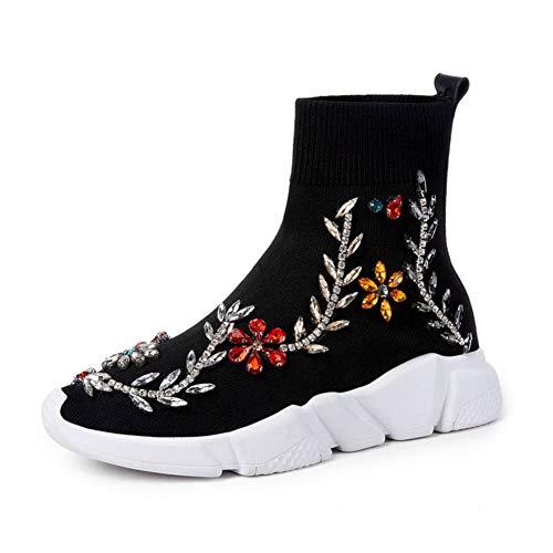 Cristal Noir Chaussettes Plates Chaussures Automne Pour En Confortable Femmes Rond Slip Bottines Casual on Stretch Bottes Tricoter Bout Fleur ggEqwUA