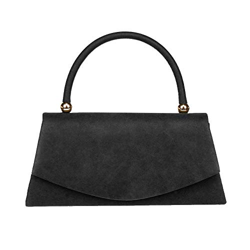 Women's Classic Envelope Evening Bag, WALLYN'S Wedding Prom Party Clutch Suede Velvet Handbag Purse(Black)