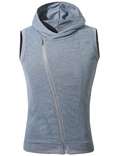 [ミート] メンズ スポーツ ウェア ノースリーブ パーカー フード 付き 斜め ジップアップ スタイリッシュ 袖なし トレーニング ウェア ポケット 付