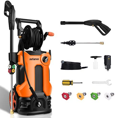 3800PSI Pressure Washer 2.8GPM Electric Power Washer 2000W High Pressure Cleaner Machine with 4 Nozzles Foam Cannon,Best for Cleaning Homes, Cars, Driveways, Patios, Fences, Garden (Orange)