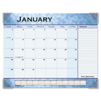 Slate Calendar Blue Desk Pad - Visual Organizer Products - Visual Organizer - Marbleized Monthly Desk Pad Calendar, 22 x 17, Slate Blue - Sold As 1 Each - A classic Mediterranean look. - Ruled to perfection for daily notations and monthly notes. - Current year reference calendar, next year reference calendar, and Dates to Remember planning pages.