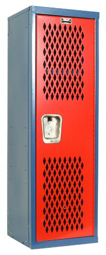 Hallowell Home Team Locker, 15''W x 15''D x 48''H, Blue Body / Red Door, Single Tier, 1-Wide, Knock-Down by Hallowell