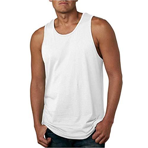 kaifongfu Sleeveless Vest,Men's Wash Tank Top Vest Sleeveless T-Shirt Autumn Men Blouse(White,L)