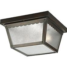 Progress Lighting P5729-20 Metal Ceiling Light with Textured Glass, Antique Bronze