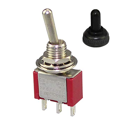 (DaierTek 10Pcs Mini Metal Waterproof Toggle Switch SPDT 3Pin ON-ON 2 6A 125VAC / 3A 250VAC Solder Terminal with Rubber Waterproof Cover)