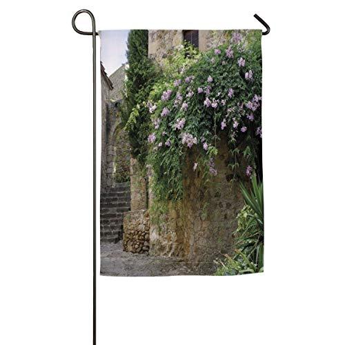 (HenSLK Summer Garden Flowers Ancient House Vertical House Flag,Garden Flag,Home Flag,Indoor Flag Yard Indoor & Outdoor Decoration 12x18inch & 18x27inch)