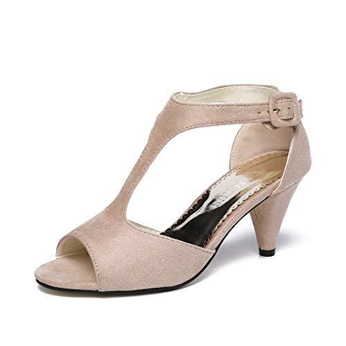 GATUXUS Women Open Toe Ankle T-Strap Kitten Heel Mary Jane Shoes Mid Heel Sandals (Beige, 9.5 B(M) US)