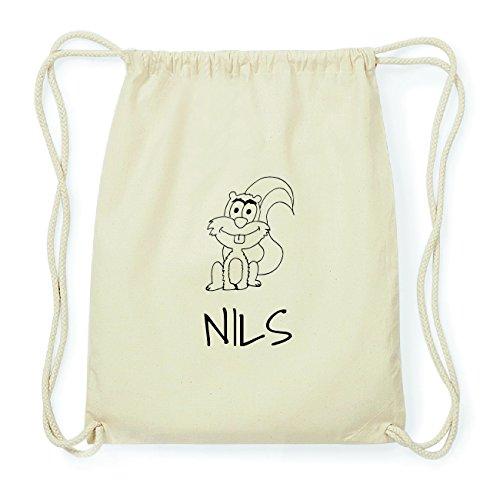 JOllipets NILS Hipster Turnbeutel Tasche Rucksack aus Baumwolle Design: Eichhörnchen d5YKHf2