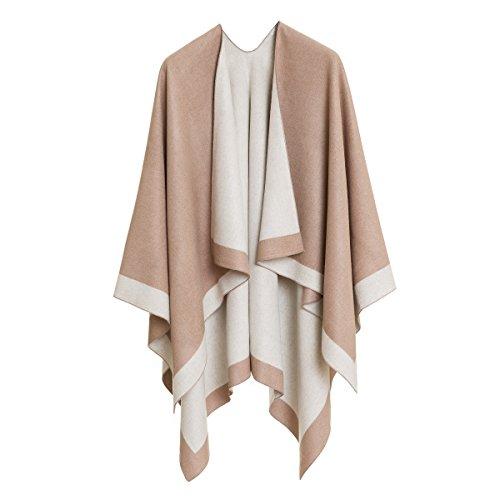 Cardigan Poncho Cape: Women Elegant Beige White Cardigan Shawl Wrap Sweater Coat for Winter (White Beige)