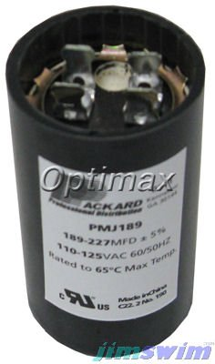 "Essex Group Start Capacitor 189-227 MFD 125Vac 1-7/16""dia x 2-3/4""hgt BC-189"