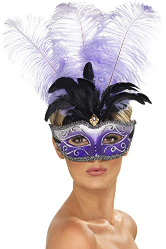 Smiffy's Venetian Colombina Eyemask with Black & Purple Feathers]()