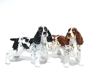 English Springer Spaniel Dog Ceramic Figurine Salt Pepper Shaker 00001 Ceramic Handmade Dog Lover Gift Collectible Home Decor Art and Crafts