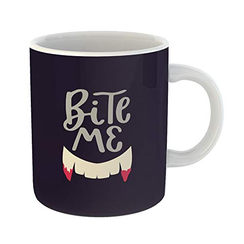 Emvency Coffee Tea Mug Gift 11 Ounces Funny Ceramic Happy Halloween Lettering Inscription Saying Text Sign for Cool Badge Party Gifts For Family Friends Coworkers Boss Mug -
