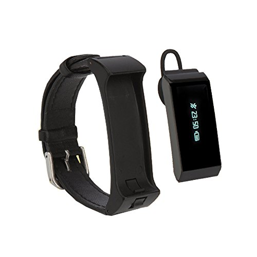 Colofan Talkband C09 Wireless Activity Tracking Wristband + Bluetooth Earpiece Smartwatch Luxury Bluetooth Smart Watch Wristwatch for IOS 6.1+ Android 4.3+ Smartphone Iphone Samsung(black Leather)