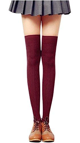 Livingston Women's Girls Over Knee Socks Thick Warm Thigh High Stocking,Burgundy,One Size (Knee High Burgandy Socks)