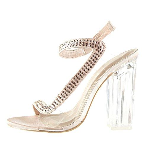 Angkorly - Chaussure Mode Sandale Escarpin sexy soirée femme strass diamant transparent Talon haut bloc 12 CM - Or