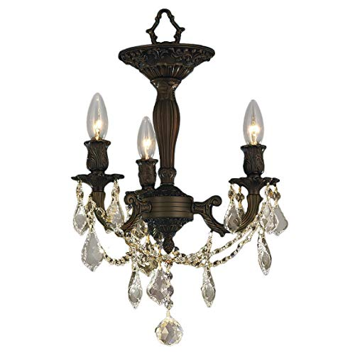 Worldwide Lighting Windsor Collection 3 Light Flemish Brass Finish and French Pendalogue Golden Teak Crystal Semi Flush Mount Ceiling Light 13
