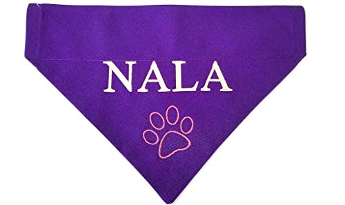 Personalized Custom Embroidered Dog Bandana, Over the collar, No-Tie Design -