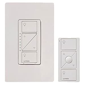 Lutron Caseta Wireless Smart Lighting Dimmer Switch and Remote Kit for Wall & Ceiling Lights, P-PKG1W-WH, White