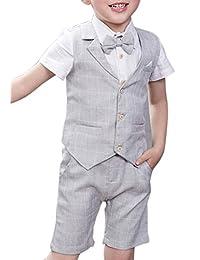 TONGBOXIAOYU Boy Formal Suit Set 4 Piece Plaid Summer Wedding Vest Shorts Set