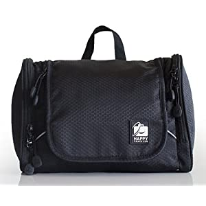 Hanging Toiletry Bag with Suction Cup, By Happy Traveler. Side Pockets with Dual Zippers. For Men & Women. Lightweight and Durable. Perfect for Camping, the Gym and Travel.