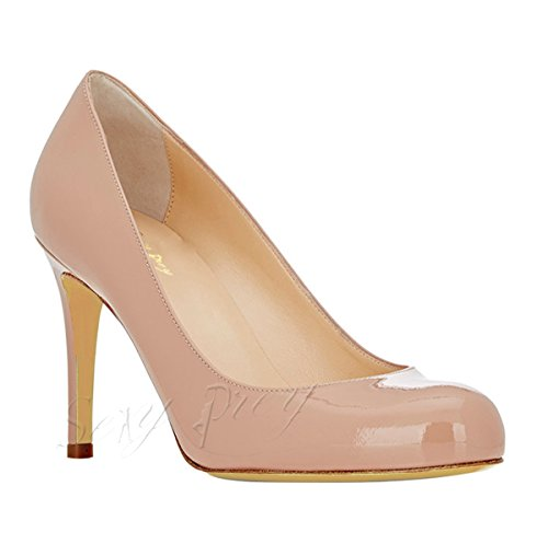 SexyPrey Women's Patent Round Toe Stiletto Heel Slip-on Formal Office Court Shoes Nude Patent-8cm Zx8QBuev