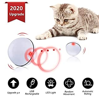 Interactive Cat Toys Ball, Self Rotating Cat Toy, Newest Version USB Rechargeable Pet Toy,Buit-in Spinning LED Light, Stimulate Hunting Instinct for Your Cat/Kitty/Kitten/Pets (White)