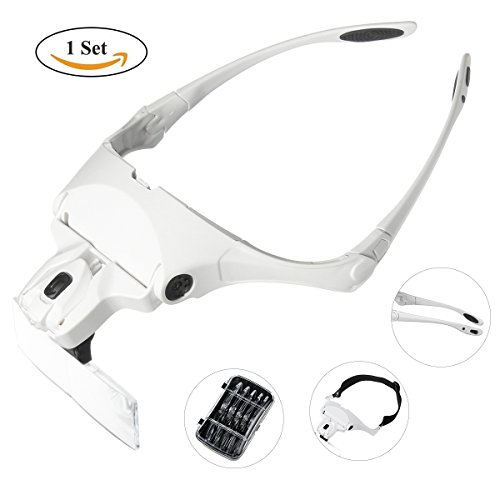 Bbuyagain Headband Magnifier,Head Mount Magnifying Glasses with 2 LED Light for Reading,Jeweler Loupe,Watch Repair+ 5 Rectangle Interchangeable Lenses:1.0X, 1.5X, 2.0X, 2.5X, 3.5X