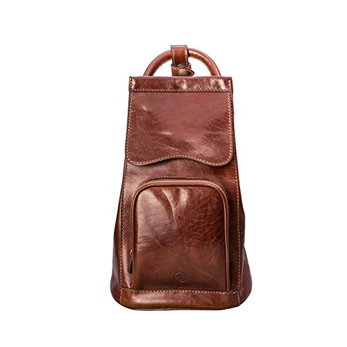 Maxwell Scott® Luxury Tan Leather Shoulder Backpack (Carli) - One Size by Maxwell Scott Bags