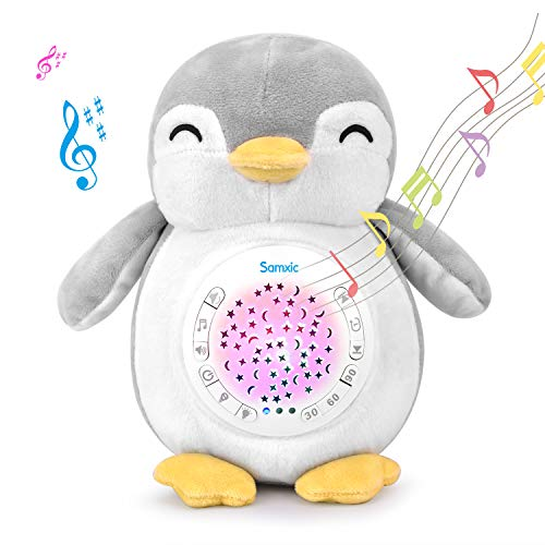 - Samxic Baby White Noise Sound Machine & Shower Gift, Sleep Soother Stuffed Animal Penguin for Baby with Sleep Aid Night Light, 12 Baby-Soothing Sounds, Adjustable Volume, Auto-Off Timer