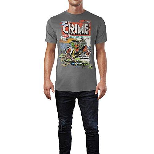 SINUS ART® Crime Does Not Pay Herren T-Shirts graues Cooles Fun Shirt mit tollen Aufdruck