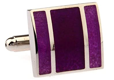 Silver with Purple Amethyst Marching Stripes Cufflinks Cuff Links