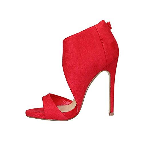 OCHENTA Mujer Plataforma Tacón Estilete Sandalia Vestido Rojo