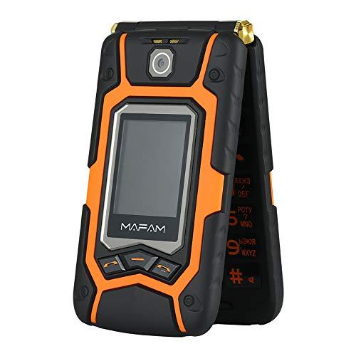 (Littleice Mafam X9 Dual Screen Sturdy Old Man Flip Phone Dual SIM One-Key Call Answer Long Standby Touch Screen Rugged Senior Mobile Phone (Orange))