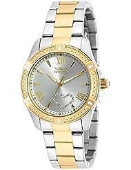 Invicta Womens Angel Gold-Tone Steel Bracelet & Case Quartz Silver-Tone Dial Analog Watch 20323