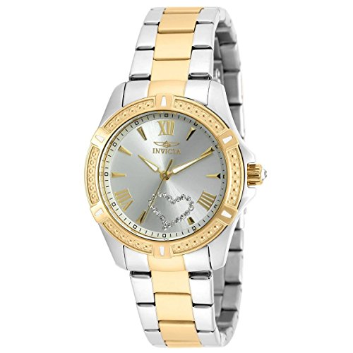 Invicta Women's Angel Gold-Tone Steel Bracelet & Case Quartz Silver-Tone Dial Analog Watch (Silver Tone Analog)