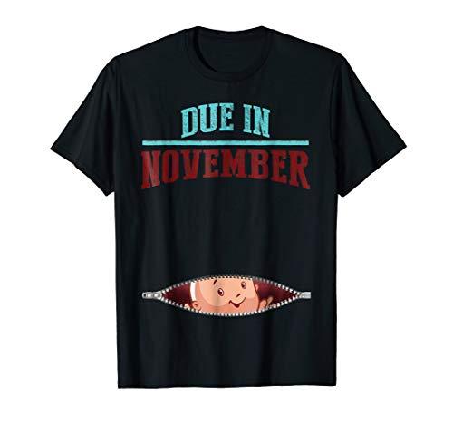 Pregnancy T-shirt, Due in November, Baby Shower, Zany Brainy