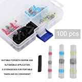 Adealink 100Pcs Heat Shrink Solder Sleeve Waterproof Wire Crimp Butt Terminals Connector With Storage Box