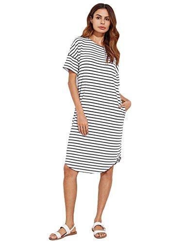 - Floerns Women's Short Sleeve Drop Shoulder Pocket T Shirt Dress Black and White L
